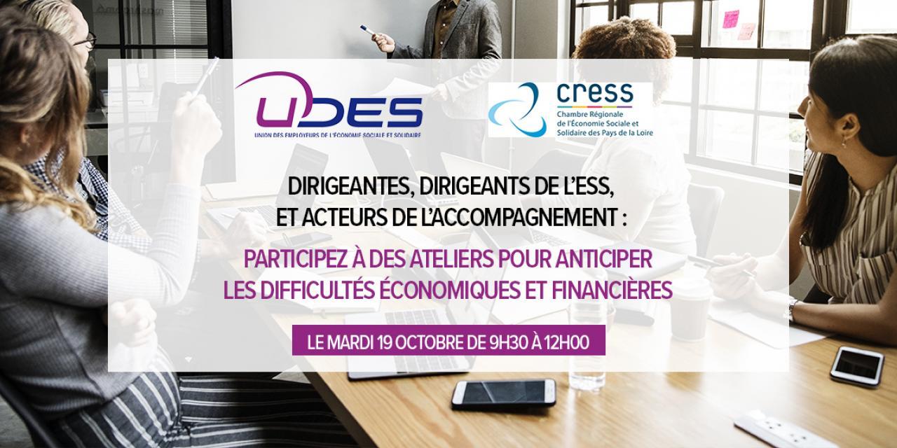 Dirigeant.e.s de l'ESS et acteurs de l'accompagnement : participez à des ateliers pour anticiper les difficultés économiques et financières