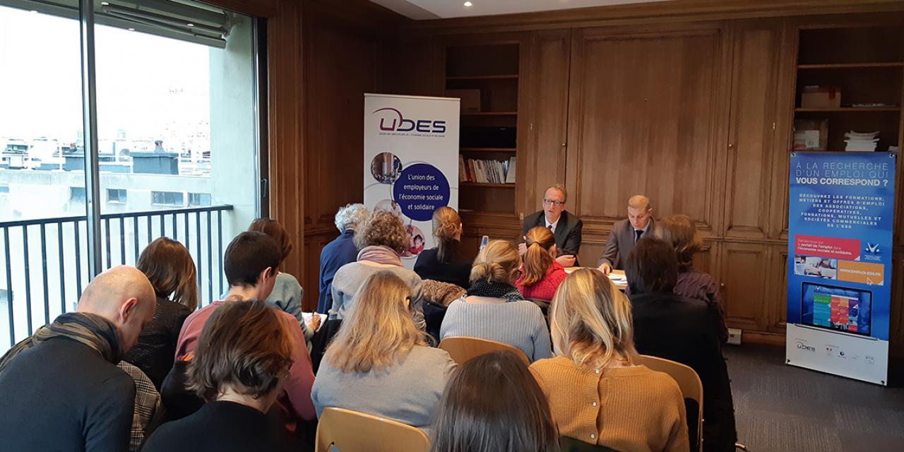Le président de l'UDES, Hugues Vidor et le Directeur général, Sébastien Darrigrand lors des vœux 2019 à la presse