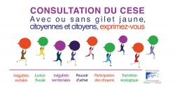 Visuel de la concertation citoyenne lancée par le CESE suite à la mobilisation des Gilets jaunes