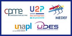 Logos du Medef, de la CPME, de l'U2P, de l'Unapl et de l'UDES