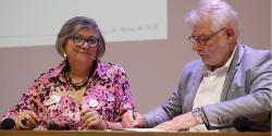 Signature du partenariat UDES/CRESS en Bretagne avec Marie-Martine Lips (CRESS) et Olivier Chapalain (UDES
