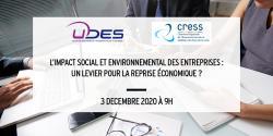 Webinaire UDES CRESS sur le thème « L'impact social et environnemental des entreprises : un levier pour la reprise économique ? »