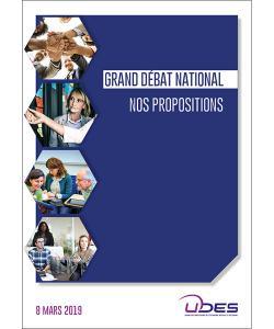 Couverture de la plateforme de propositions formulées par l'UDES dans le cadre du Grand débat national