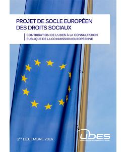 Illustration du document présentant la contribution de l'UDES au projet de socle européen de droits sociaux